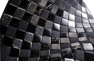 Glossy and Matte Black Raindrop Modern Square Glass Mosaic Tiles