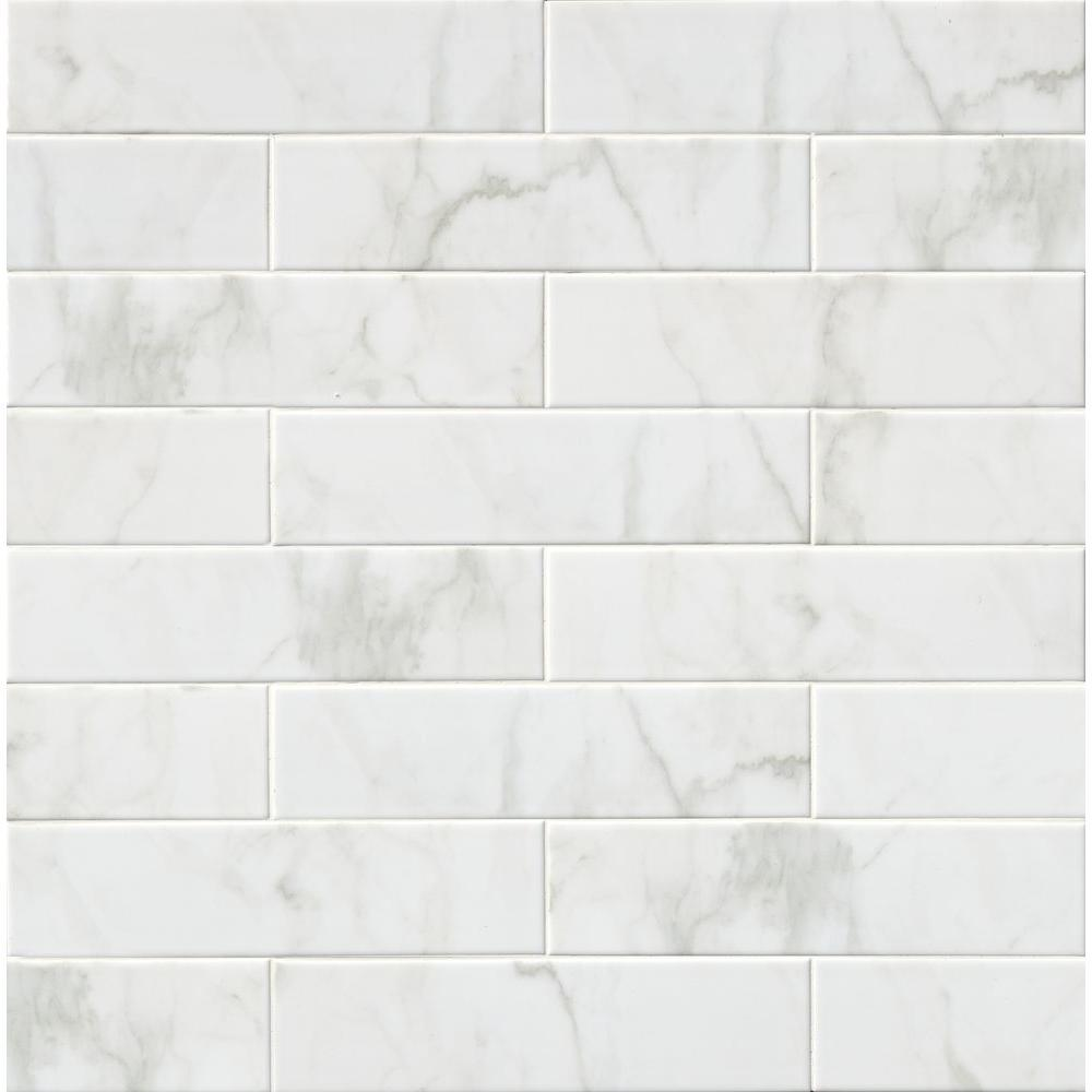 MS International Marmi Blanco White 4 in. x 16 in. Glazed Ceramic Wall Tile (11 sq. ft. / case)