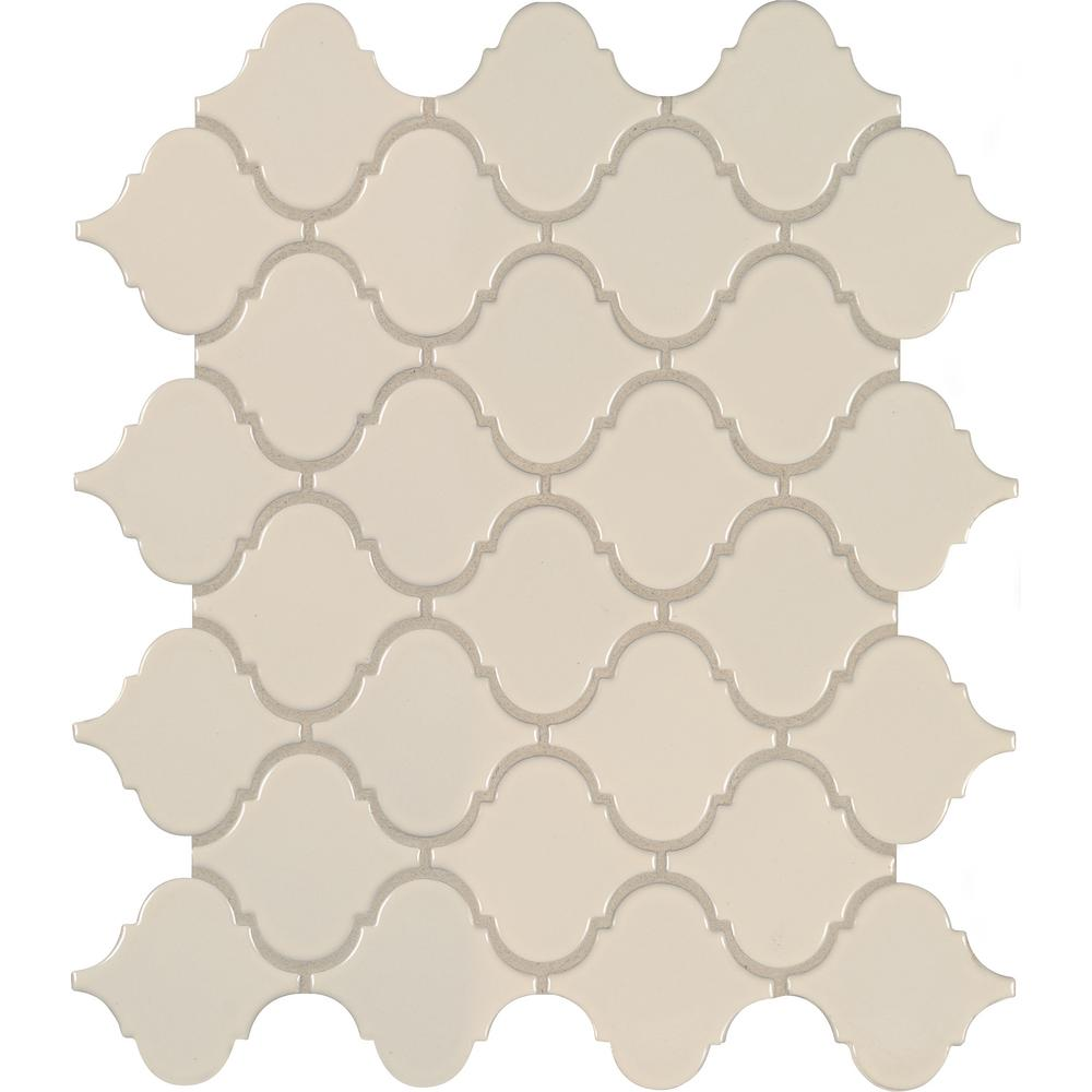 MSI Almond Glossy Arabesque 11.53 in. x 9.65 in. x 10mm Porcelain Mesh-Mounted Mosaic Tile (15.46 sq. ft. / case)