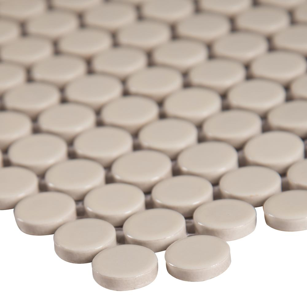 MSI Almond Glossy Penny Round 11.57 in. x 12.4 in. x 10mm Porcelain Mesh-Mounted Mosaic Tile