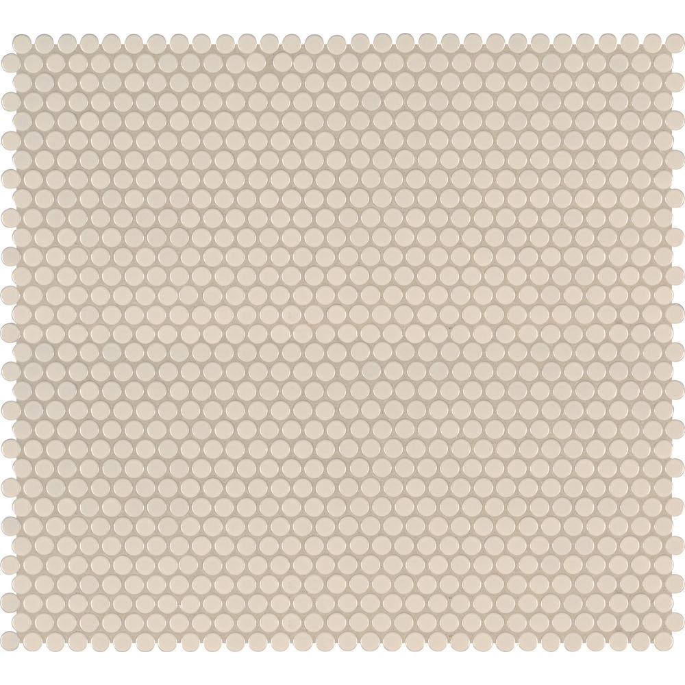 MSI Almond Glossy Penny Round Porcelain Mesh-Mounted Mosaic Tile (Box of 15 Sheets) - Free Shipping