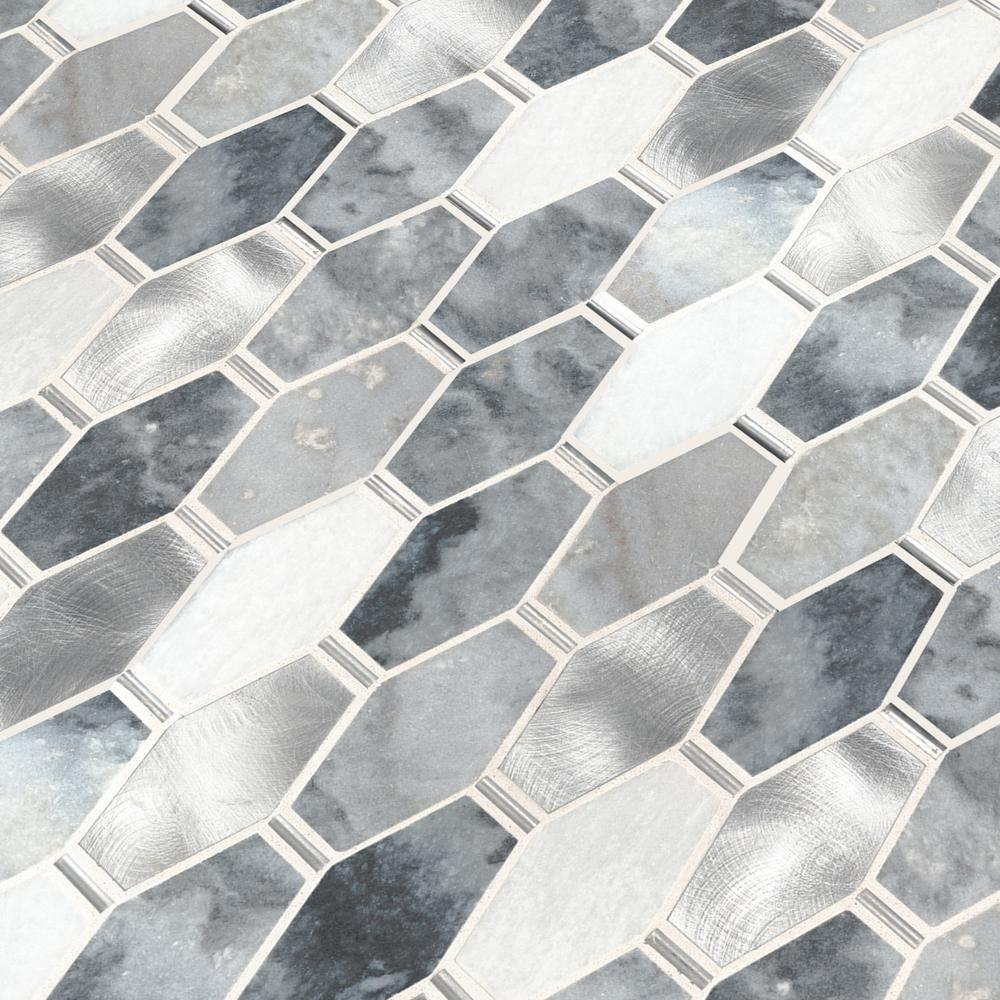MSI Ankara 13 in. x 11.61 in. x 6mm Stone Metal Mesh-Mounted Mosaic Tile