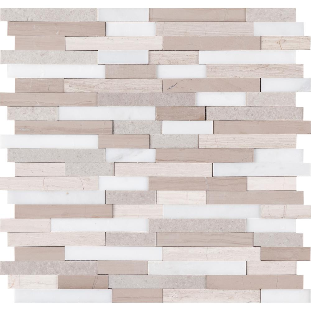 MSI Arctic Storm Interlocking 3D Peel and Stick 12 in. x 12 in. x 6mm Honed Marble Mosaic Tile - Free Shipping