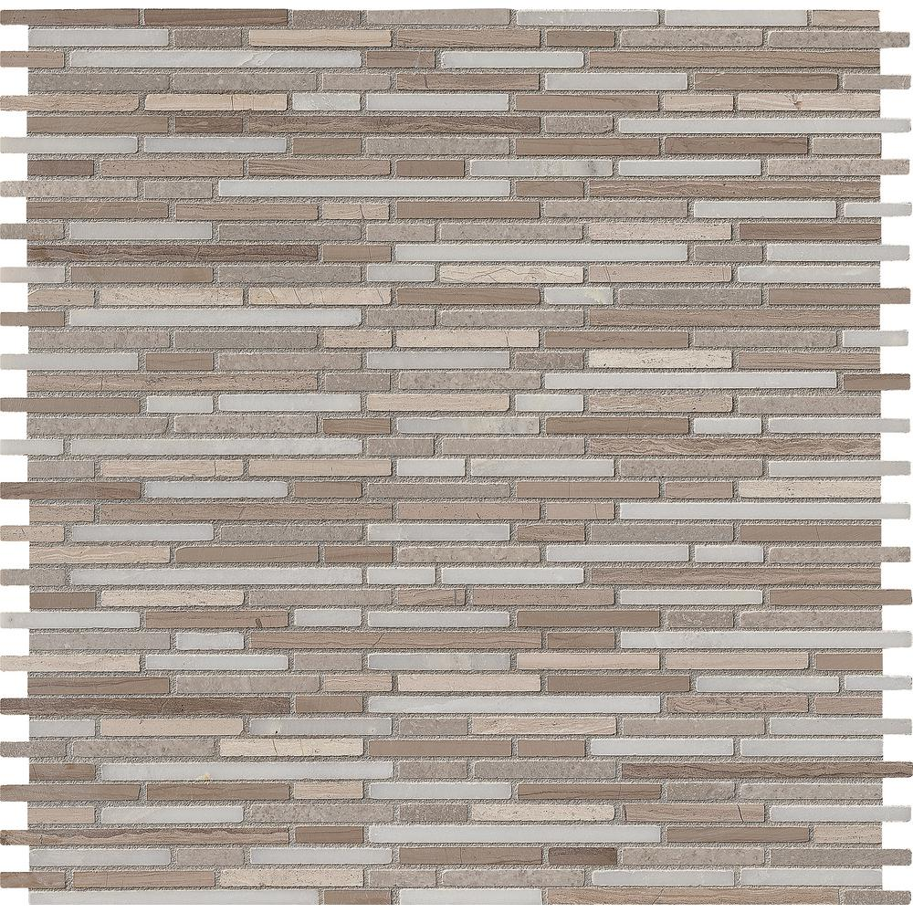 MSI Arctic Storm Bamboo 12 in. x 12 in. Honed Marble Mesh-Mounted Mosaic Floor and Wall Tile