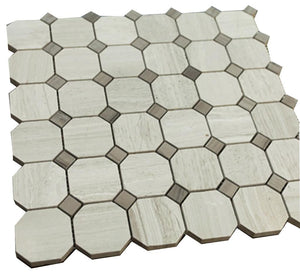Grey Wooden Look Octagon Pattern Stone Tile Mosaics