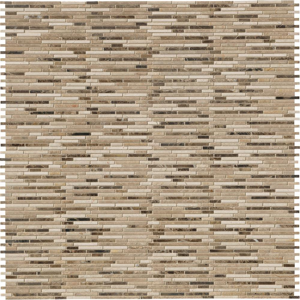 MS International Emperador Blend Bamboo 12 in. x 12 in. x 10 mm Brown Marble Mesh-Mounted Mosaic Tile