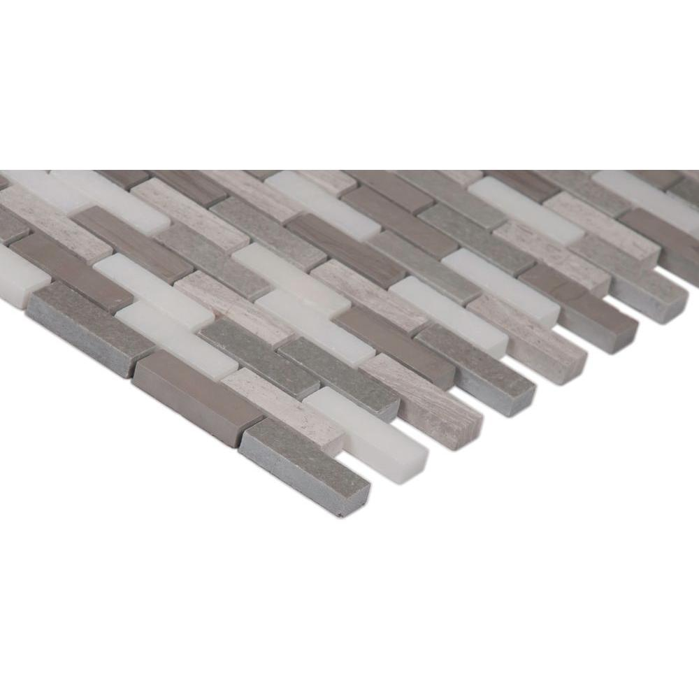 MS International Arctic Storm 12 in. x 12 in. x 10 mm Honed Marble Mesh-Mounted Mosaic Floor and Wall Tile