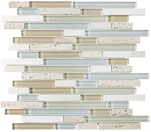 10 Sq Ft - Bliss Spa Stone and Glass Linear Mosaic Tiles - bathroom walls/ kitchen backsplash