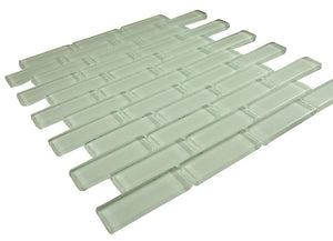 Glossy Soft White Subway Glass Mosaic Tile