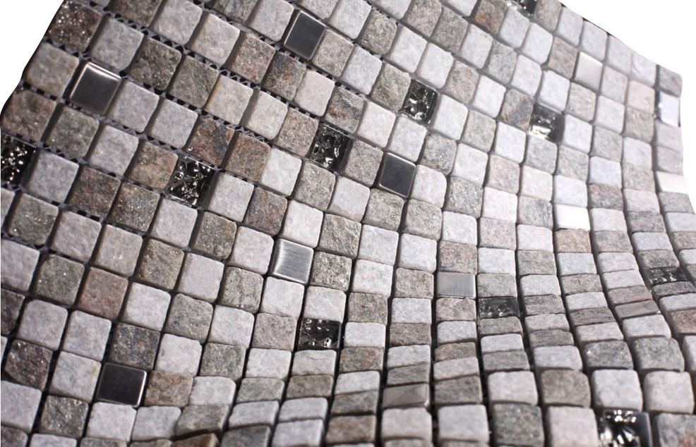Natural Luxury Square Pebble Stone with Stainless Steel Mosaic Tiles