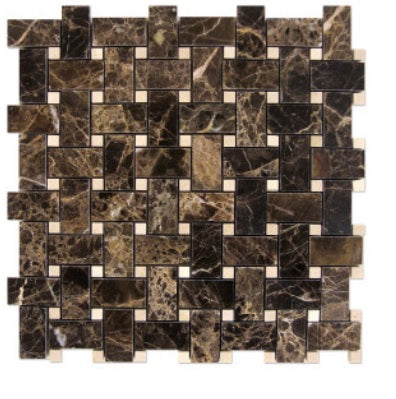 Dark Emperador Basketweave with Crema marfil Dots - Polished Finished