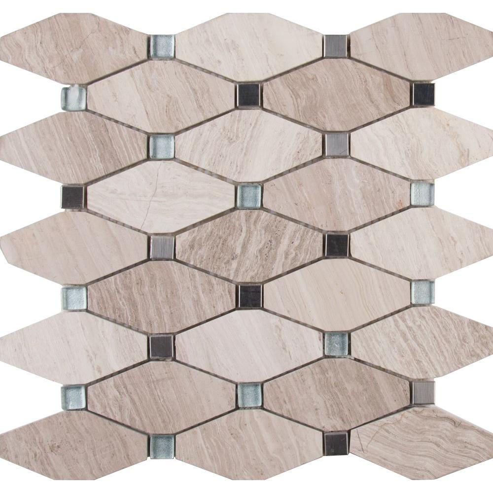 MSI Bayview Elongated Octagon 12 in. x 12 in. x 10 mm Glass Metal Mesh-Mounted Mosaic Tile