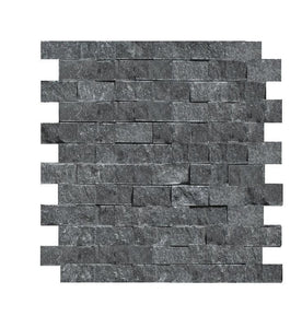 "Nouveau Nero 1x2 Black Marble Split Face Mosaic Tile ( on 12"" x 12"" Mesh Sheet)"