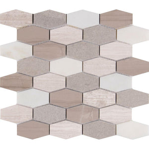MSI Bellagio Blend Elongated Hexagon 12 in. x 12 in. x 10mm Honed Marble Mesh-Mounted Mosaic Tile
