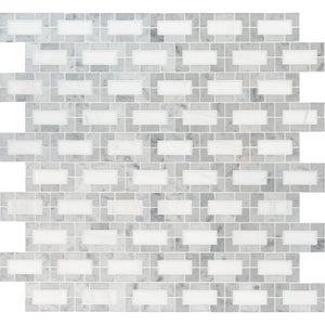 MSI Bianco Dolomite Lynx 12 in. x 12 in. x 10mm Polished Marble Mesh-Mounted Mosaic Tile