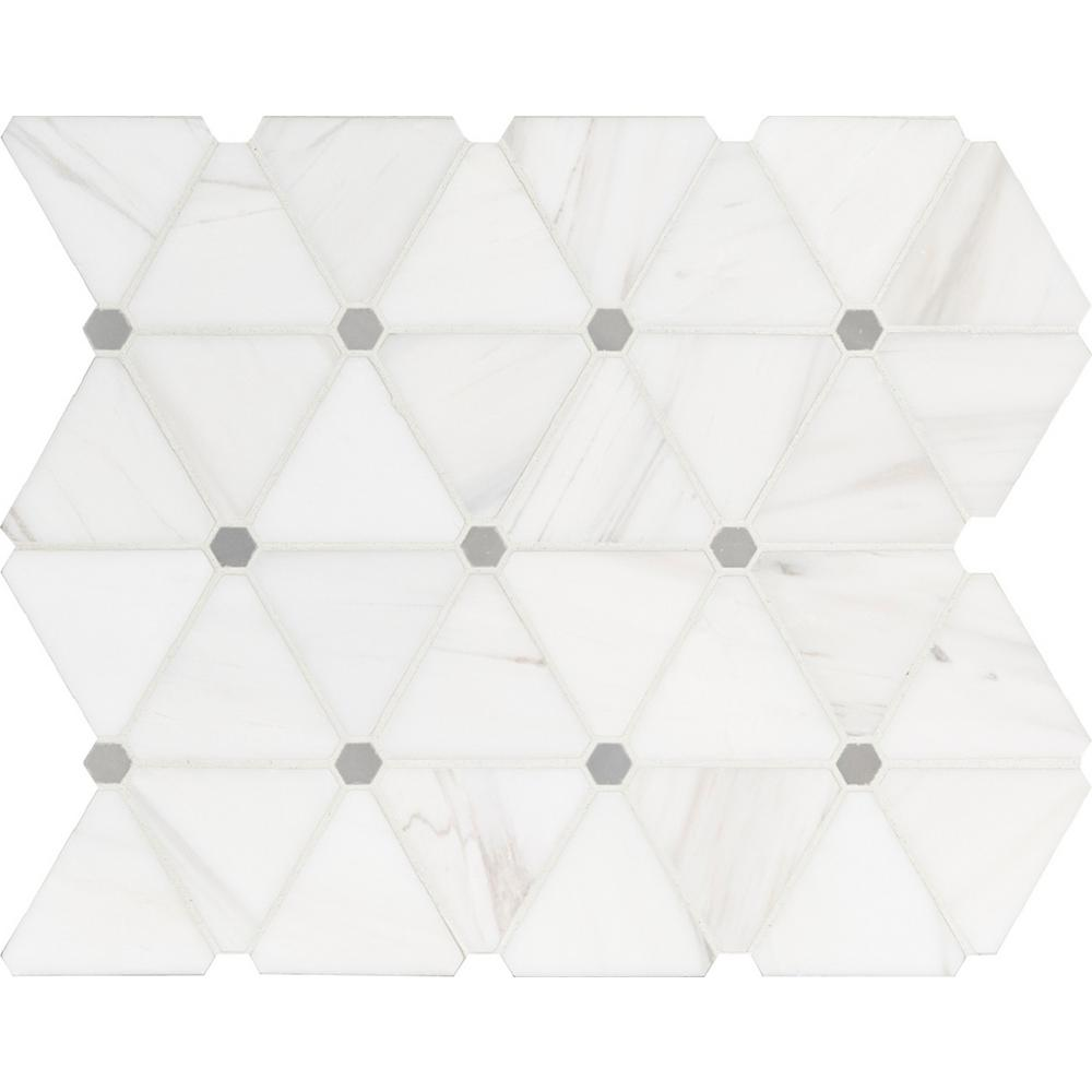 MSI Bianco Dolomite Pinwheel 13.9 in. x 12 in. x 10mm Polished Marble Mesh-Mounted Mosaic Tile (11.6 sq. ft. / Case)
