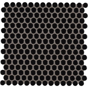 MSI Black Glossy Penny Round 11.57 in. x 12.4 in. x 10mm Porcelain Mesh-Mounted Mosaic Tile