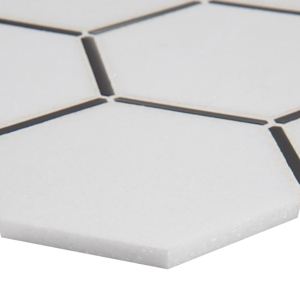 MSI Blanco Honeycomb 13.11 in. x 11.57 in. x 8mm Metal/Stone Blend Mesh-Mounted Mosaic Tile (10.5 sq. ft. / case)