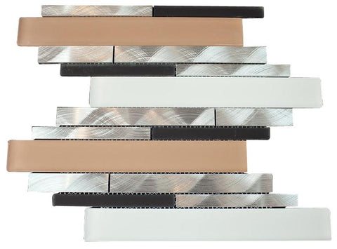 Silver Aliminum, White and Beige Glass and Matte Black Mosaic Tile Random Z Pattern