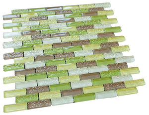 Soccer Green Crystal Glass Mosaic Tile Brick Pattern (Glossy&Matte)