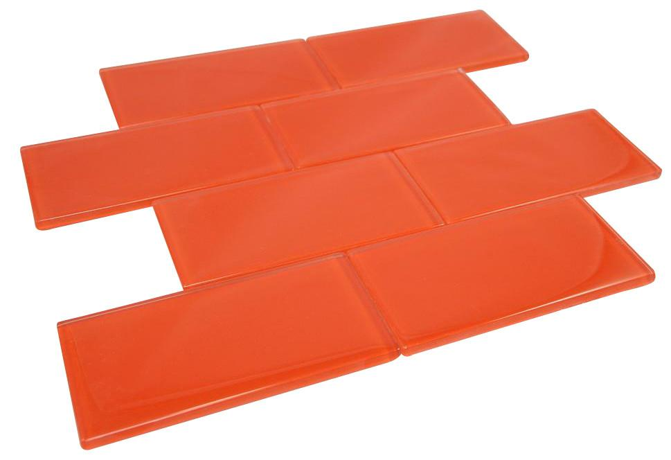 "Glossy Orange Subway 3x6"" Glass Mosaic Tile"