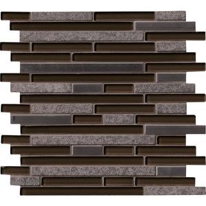 Niagra Interlocking 12 in. x 12 in. x 8mm Glass Metal Stone Mesh-Mounted Mosaic Tile (10 sq. ft. / case)