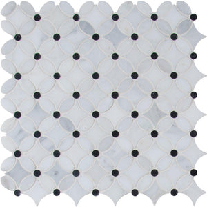 MSI Florita 13.2 in. x 13.2 in. x 10mm Polished Marble Mesh-Mounted Mosaic Tile (12.10 sq. ft. / case)