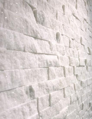 Italian Bianco Carrera White Carrara 1x2 Marble Split Face Mosaic Tile on 12 inch x 12 inch sheet (1 square foot mosaic)