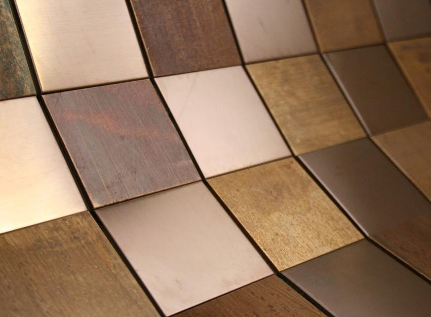 Matte Wood Look Bronze Metallic Square Glass Mosaic Tiles for Bathroom and Kitchen Walls Kitchen Backsplashes