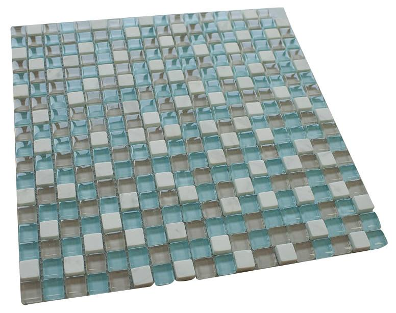 Pool Blue Square Glass Mosaic Tiles