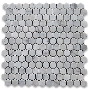 "Carrara Marble Italian White Bianco 1"" Hexagon Mosaic Tile Honed for Bathroom and Kitchen Walls Kitchen Backsplashes  - Free Shipping"