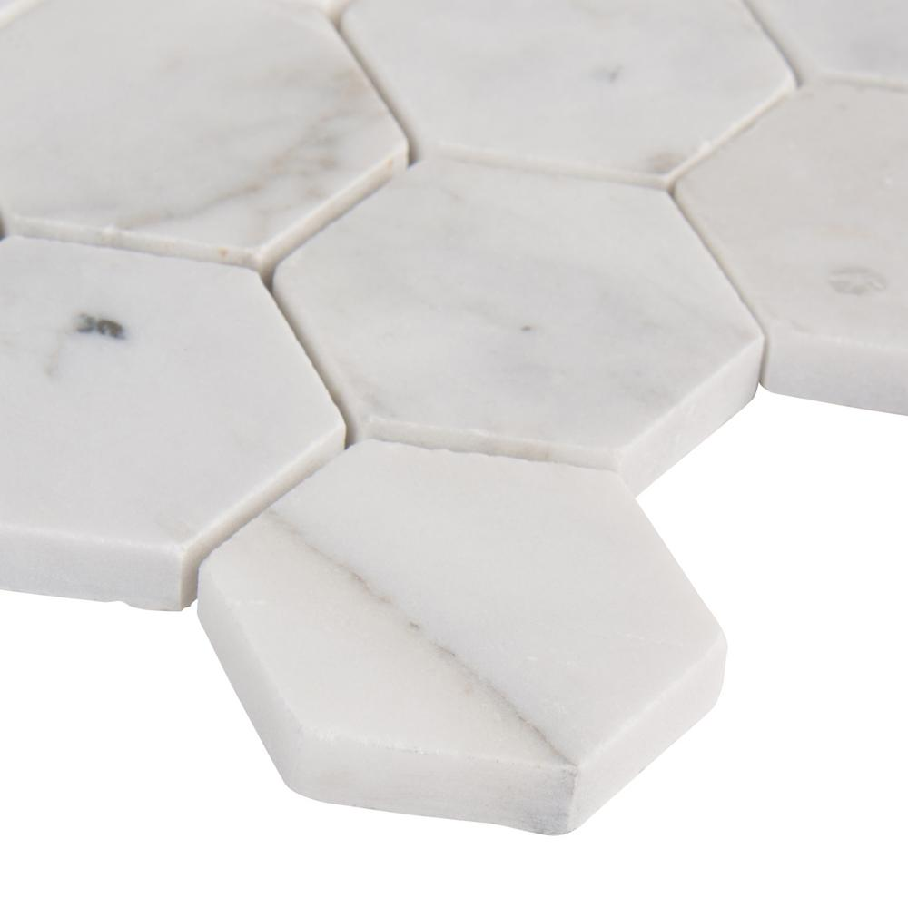 MSI Calacatta Cressa Hexagon 12 in. x 12 in. x 10mm Honed Marble Mesh-Mounted Mosaic Tile (9.8 sq. ft. / case)