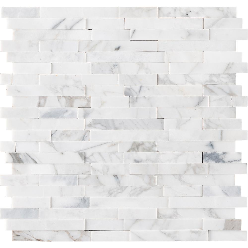 MSI Calacatta Marbella Peel and Stick 12 in. x 12 in. x 6mm Honed Marble Mosaic Tile (15 sq. ft. / case)