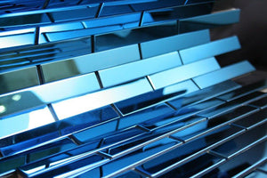 Shiny Blue Stainless Steel Subway Style Mosaic Tiles