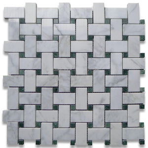 Carrara Marble Italian White Bianco Basketweave Mosaic Tile with Green Dots Polished