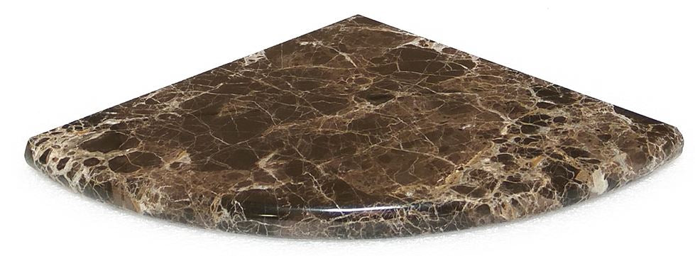 "Dark  Emperador  Marble Accessory,  9""X9""X3/4"" Corner Shelf, Both Sides Polished"