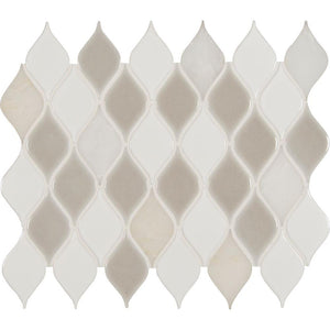 MSI Cresta Blanco Leaf Pattern 12 in. x 12 in. x 8mm Porcelain Stone Blend Mesh-Mounted Mosaic Tile