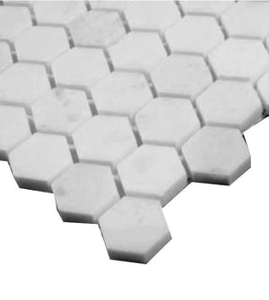 "Statuary Crystal Marble Italian White Statuario 1"" Hexagon Mosaic Tile Polished"
