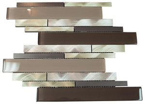 Silver Aliminum, Brown, White and Grey Glass and Matte Black Mosaic Tile Random Z Pattern