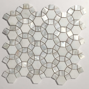 Thassos Hexagon Marble with Mix Circulos Mother of Pearl Tiles On Mosaic Sheet