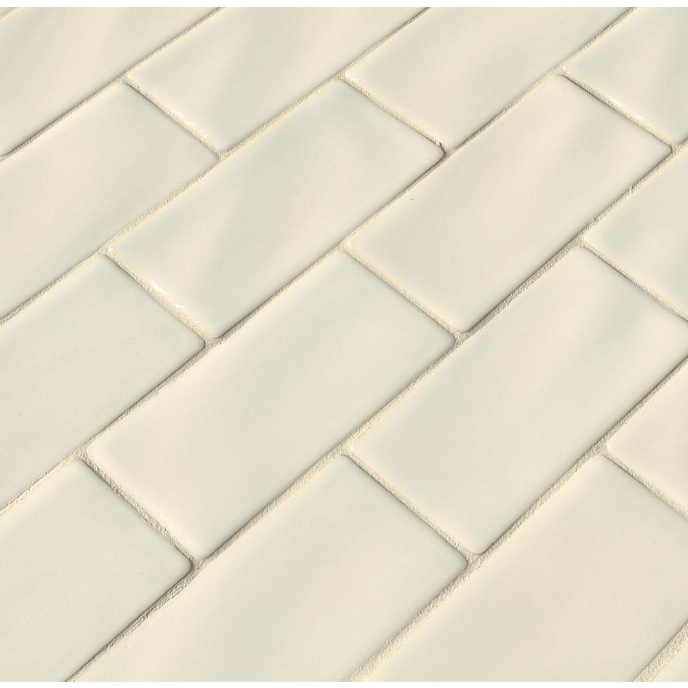 MS International Antique White 3 in. x 6 in. Handcrafted Glazed Ceramic Wall Tile