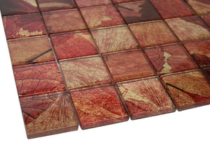 Glossy Pink Flower Square Glass Mosaic Tiles