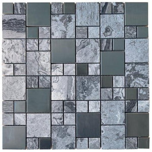 Pebble Stone Marble with Grey Metallic Square Glass Mosaic Tiles