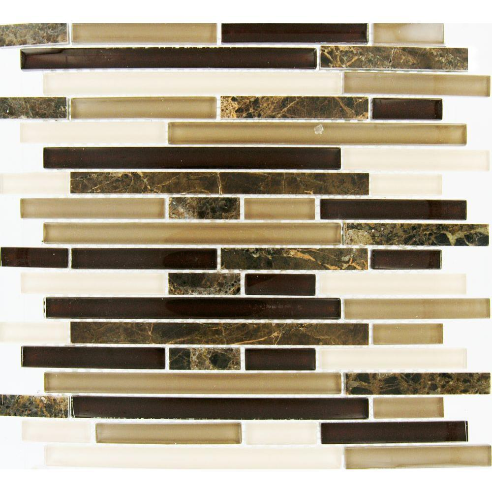 MS International Royal Oaks 12 in. x 12 in. x 8 mm Glass Marble Mesh-Mounted Mosaic Tile