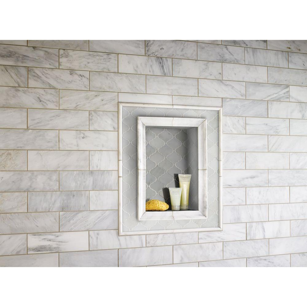 MS International Greecian White Arabesque 12 in. x 12 in. x 10 mm Polished Marble Mesh-Mounted Mosaic Floor and Wall Tile