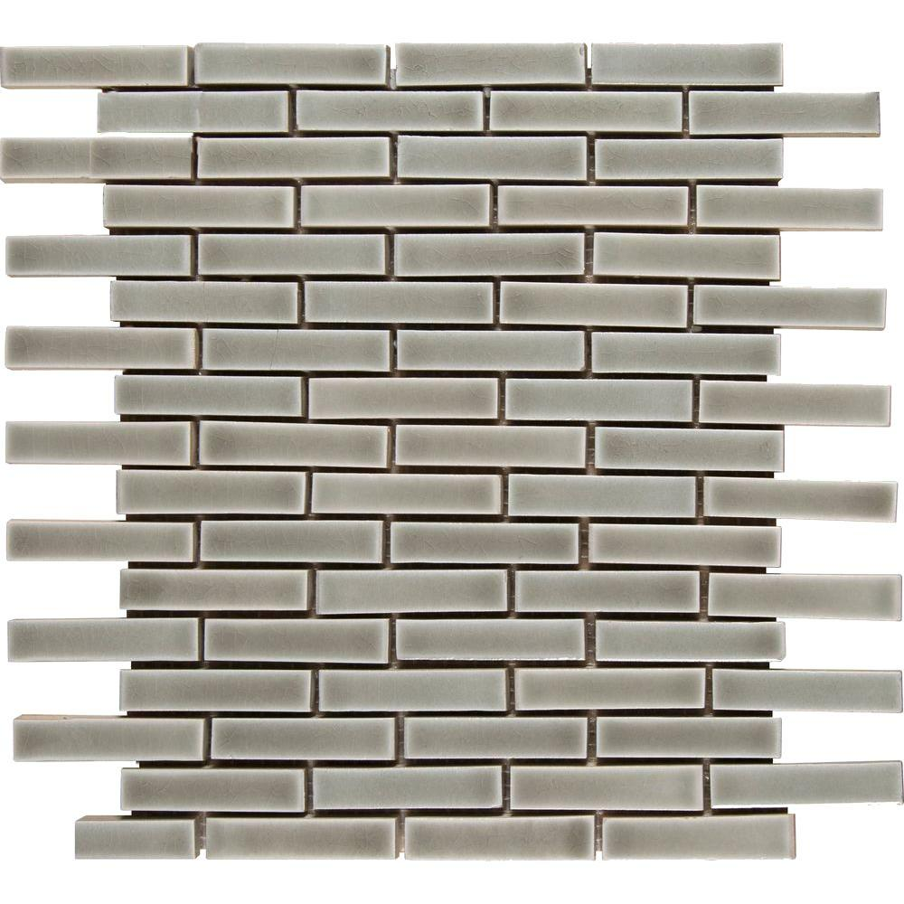 MSI Dove Gray Brick 12 in. x 12 in. x 8 mm Ceramic Mesh-Mounted Mosaic Wall Tile (10 sq. ft. / case)