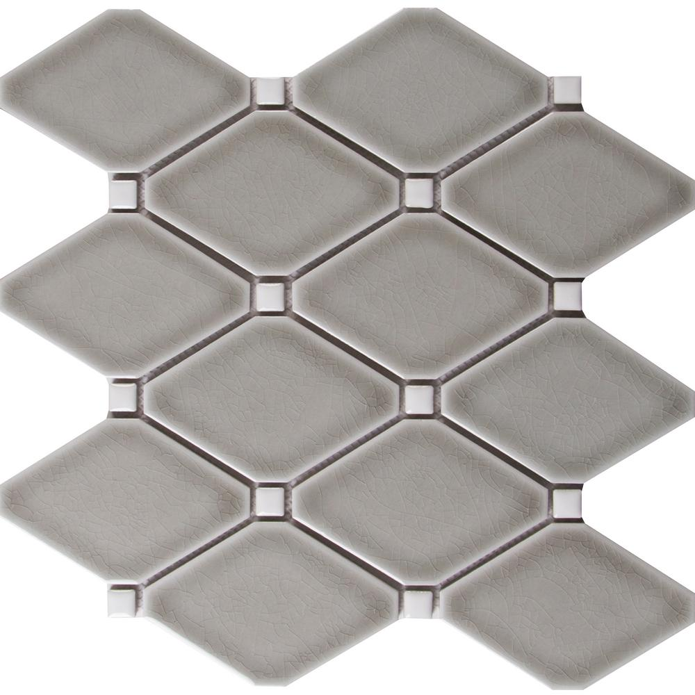 MSI Dove Gray 12.28 in. x 12.8 in. x 8 mm Glazed Ceramic Mesh-Mounted Mosaic Tile (10.9 sq. ft. / case) - Free Shipping