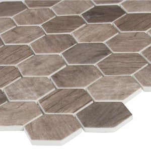 MSI Driftwood Hexagon 11.02 in. x 12.76 in. x 6mm Glass Mesh-Mounted Mosaic Tile (14.65 sq. ft. / case)