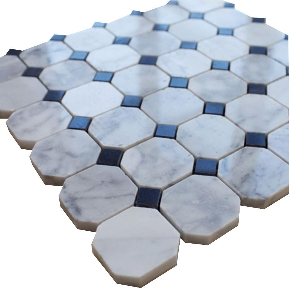 White Carrara Octagon with Black Dots Stone Tile Mosaics