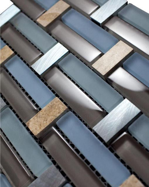 Glossy Blue and Brown & Beige Marble & Silver Aliminum Authentic Glass Mosaic Tiles